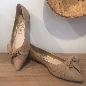 Libby Edelman Big bow slip on flat dress shoes